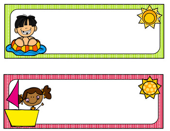 Summer Desk Name Tags Editable By Judy Tedards Tpt