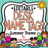 Summer Desk Name Tags...Editable