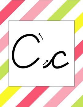 Summer Diagonal Stripe Cursive Alphabet