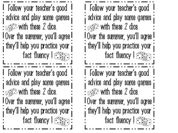 Summer Dice Fluency Games