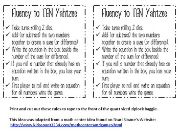 First to Ten for Fluency Practice