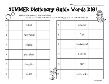 Summer Dictionary Guide Words DIG!
