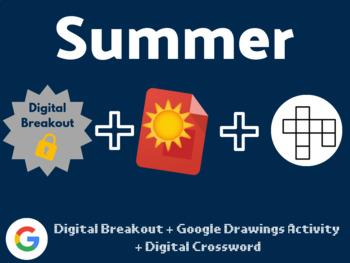 Summer Digital Bundle (Digital Breakout, Google Drawings, Crossword)