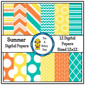 Summer Digital Paper (Blue, Yellow, & Orange)