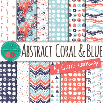 Summer Digital Paper - Abstract Coral and Blue