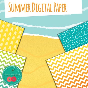 Summer Digital Paper - Digital Backgrounds with sun, sea, blue, yellow
