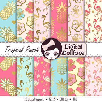 Summer Digital Paper, Flamingo, Pineapple & Hibiscus Patterns