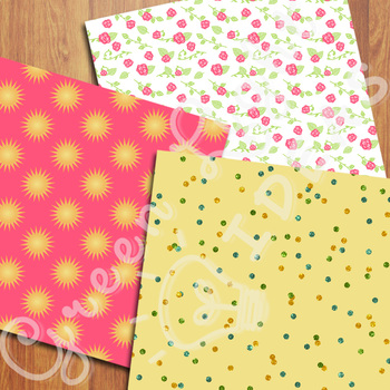Summer Digital Papers / Beach Backgrounds / Commercial Use Vacation Papers