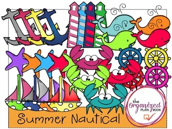Summer Digital Papers and Clip Art MEGA Bundle - Summer Nautical