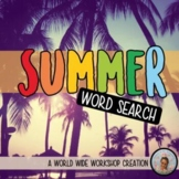 Summer Digital Word Search Activity (With key! Print versi