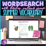 Summer Digital Word Search online game for distance learning