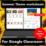 Summer Digital Worksheets for Special Education   Distance