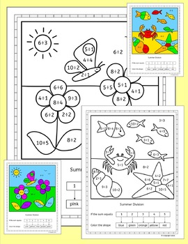 Division worksheets - summer theme - NO PREP
