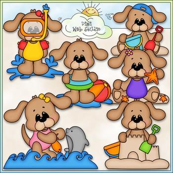 Summer Dogs Clip Art - Beach Dogs Clip Art - Summer Clip Art - CU Clip Art & B&W