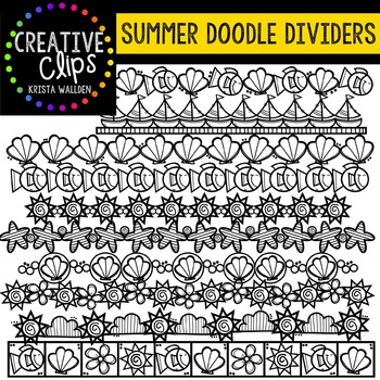 Summer Doodle Dividers {Creative Clips Digital Clipart}