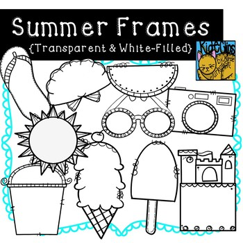 Summer Doodle Frames Transparent and White Filled by Kid-E-Clips