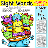 Color by Sight Words Summer Monsters - End of Year Activity