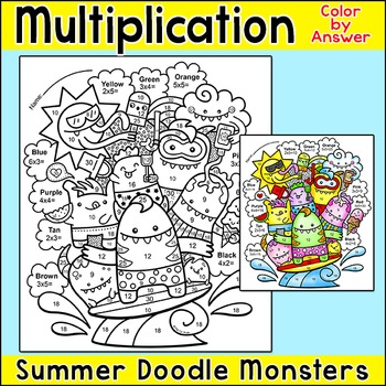Multiplication Color by Number Summer Monsters - Fun End of the Year Activity