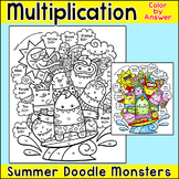 Multiplication Color by Number Summer Monsters - math cent