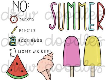 Summer Doodles Digital Clip Art Set