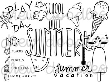 Summer Doodles Digital Clip Art Set Black Line Version