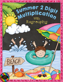 Summer Double Digit Multiplication With Regrouping, Two Digit Multiplication