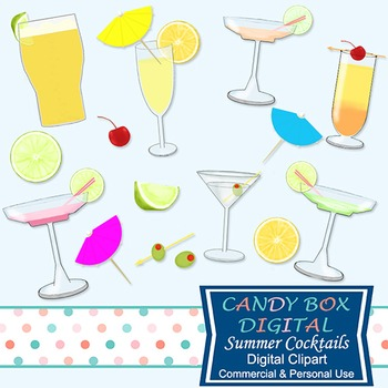 Summer Drinks Cocktail Clip Art - Commercial Use OK