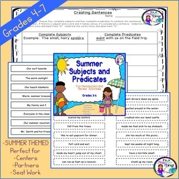 Figurative Language Task Cards & Subjects and Predicates Summer Fun