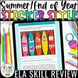 Summer ELA Digital Skill Review Sticker Style Activity mad