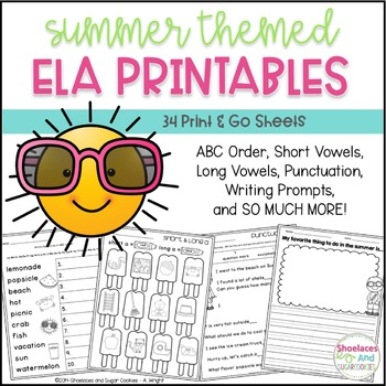 Summer ELA Printables ~ 34 Print & Go Sheets