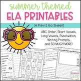 Summer ELA Printables ~ 34 Print & Go Sheets