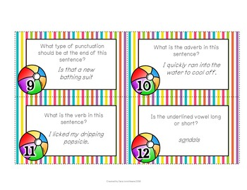 Summer ELA Task Cards