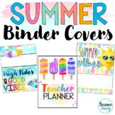 Summer Editable Binder Covers   Teacher Planner Covers   S