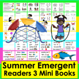 Summer Emergent Readers + Word Wall - 3 Books - 4 Versions of Ea-Summer School