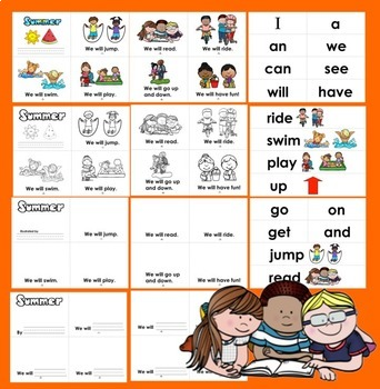 Summer Emergent Readers + Word Wall - 3 Books - 4 Versions of Ea-Summer School