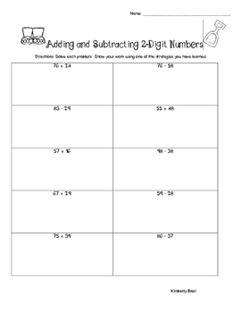 Summer / End of Year Adding and Subtracting 2-Digit Numbers Worksheets Pack