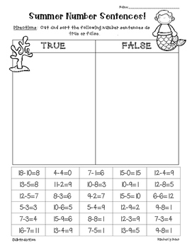 Summer / End of Year Addition and Subtraction True or False Sort - 3 Worksheets!