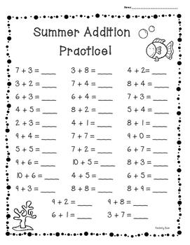 summer end of year basic addition facts practice set of 3 worksheets. Black Bedroom Furniture Sets. Home Design Ideas