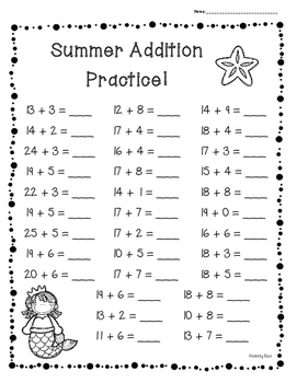 Summer / End of Year Basic Addition Facts Practice Set of 3 Worksheets