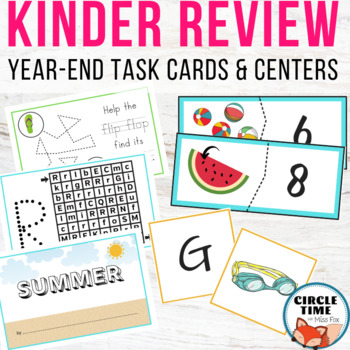 Summer / End of Year Centers Kindergarten, Task Cards Kindergarten Review Packet
