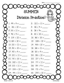 Summer / End of the Year Division Practice Packet - 4 Leveled Worksheets