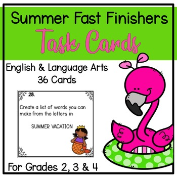 Fast Finisher Task Cards for the End of the Year-Language Arts