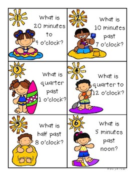 Summer / End of the Year: Telling Time Task Cards Match: 5 minutes