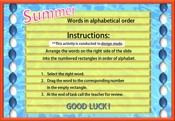 Summer- English words