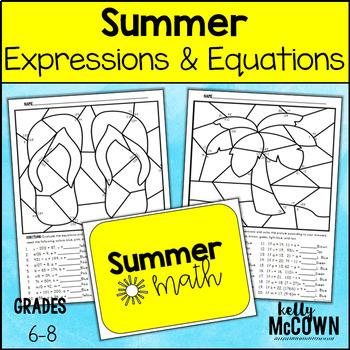 Summer Equations Expressions Math Coloring