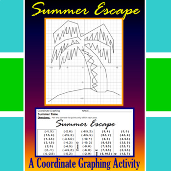 Summer Escape - A Summer Time Coordinate Graphing Activity