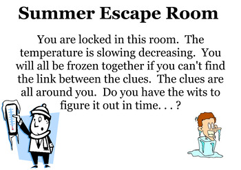 Summer Escape Room with percent proportions, equations, expressions, and more!