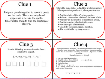 CC7 Math Topics Review Escape Room Challenge by cTink's ...