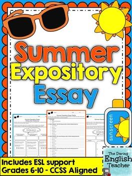 Summer Expository Essay - Grades 6-10 - CCSS Aligned