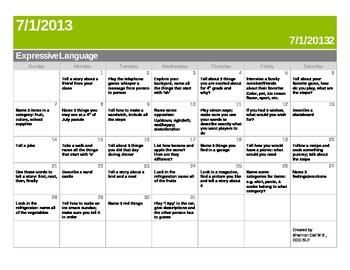 Summer Expressive Language Calendar!